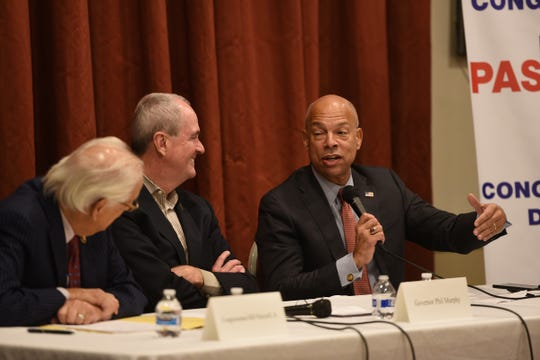 the  former Department of Homeland Security Secretary Jeh Johnson, speaks as U.S. Rep. Bill Pascrell, Jr. (D-NJ-09) and Governor Phil Murphy listen as they host a roundtable discussion on the rise of domestic extremism and efforts to combat it, photographed at VFW Post 2867in Garfield on 11/26/19.