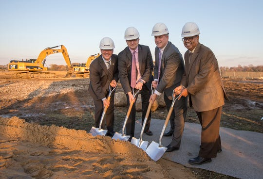 Leaders from Saint Joseph Mercy Health System, IHA and Schoolcraft College participate in a groundbreaking ceremony on a new 124,000-square-foot health care facility, the IHA & St. Joe's Livonia Medical Center.  (From left to right) Rob Casalou, Regional President and CEO, Trinity Health Michigan; Dr. Mark LePage, CEO, IHA; Brian Broderick, Chair, Schoolcraft College Board of Trustees; and Dr. Conway A. Jeffress President, Schoolcraft College.
