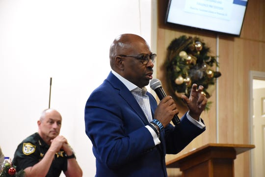 Omar Neal, former Tuskegee, Alabama, mayor and radio host, moderated a town hall forum on violence prevention Monday at the Adoration for a New Beginning Church in Pensacola.
