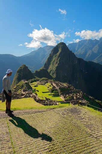 Cardinals quarterback Brett Hundley overlooking Machu Picchu in Peru.