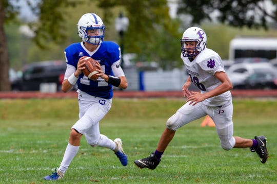 Campbell Prentiss rolling out for the Mercersburg Blue Storm in their first season of eight-man football.