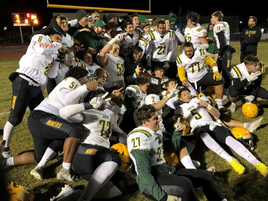 Bishop Manogue beat Damonte Ranch, 24-7, on Monday night to defend its Northern 4A Region football title. Manogue will host Liberty at 1:10 p.m. Saturday in a state semifinal.