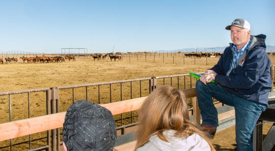 John Neill, facilities manager for the Wild Horse and Burro Center at Palomino Valley, talks to BLM tour participants at the Indian Lake facility about how to adopt an animal removed from public lands.