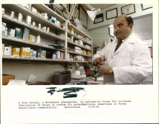 """Ivan Sanzel, a Rochester pharmacist shown in 1991, was nationally known for his knowledge of """"compounding,"""" or making drugs, creams and ointments to order. The shop at 990 Monroe Ave. Is one of the oldest in Monroe County."""