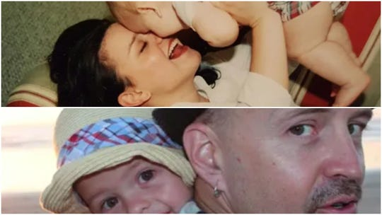 Childhood friends Lisa Bradshaw and Jerry Agee, both Shasta County natives, are seen in these photos with their children.