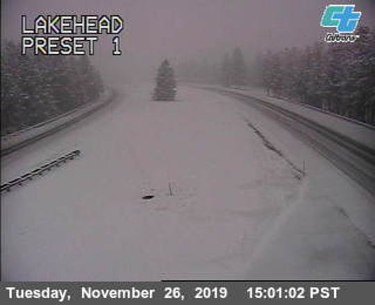 This California Department of Transportation camera shows the Lakehead area as of about 3 p.m. Tuesday. I-5 north of there was under an emergency closure from snow.