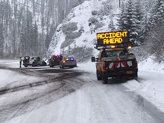 A crash blocked a lane of Highway 20 on Santiam Pass near milepost 77 Tuesday morning.