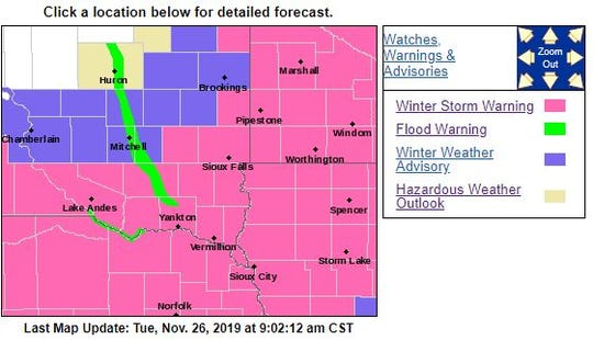 Watches and advisories in South Dakota on Tuesday.