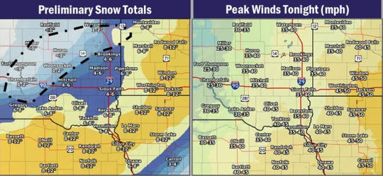 Snowfall projections and wind estimates today.
