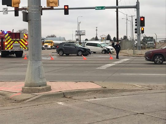 A crash near South Marion Road and West 12th Street on Nov. 26, 2019.