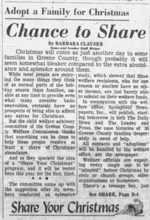 The first Share Your Christmas article from Dec. 6, 1964.