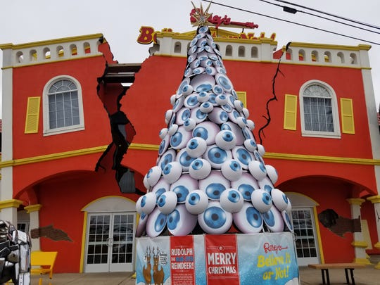 These blue eyeballs on this tree at Ripley's Believe it Or Not, represent reindeer eyes.