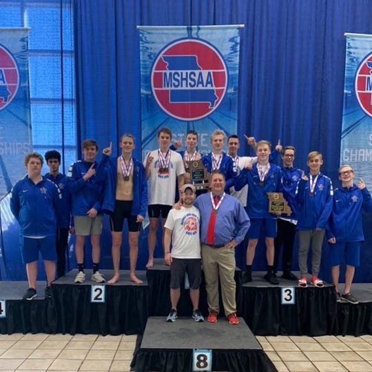 The Glendale Falcons boys swim team has won its first state championship.