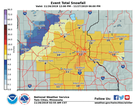 Updated snowfall forecasts from the National Weather Service