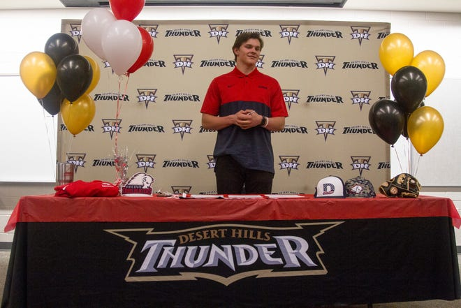 Desert Hills baseball player Bryker Hurdsman signs on to play for Dixie State University Tuesday, Nov. 26, 2019.