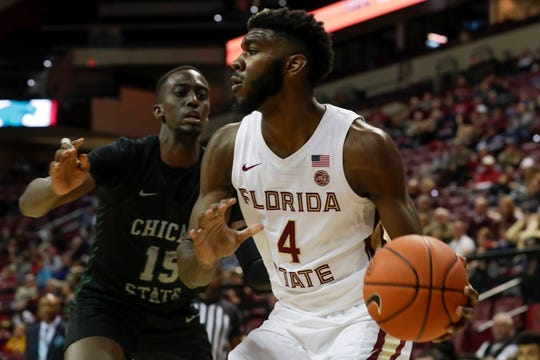 Florida State Seminoles forward Patrick Williams (4) looks for an open man during a game between FSU and Chicago State at the Donald L. Tucker Civic Center Monday, Nov. 25, 2019.