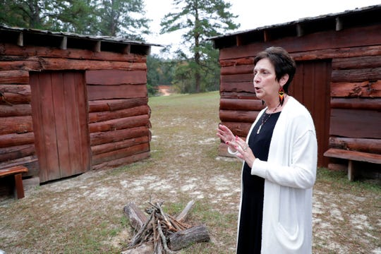 Marian McCormick, Principal Chief of the Lower Muskogee Creek Tribe, describes a  traditional cabin in the Tama Tribal Town on the Lower Muskogee Creek Tribal land.