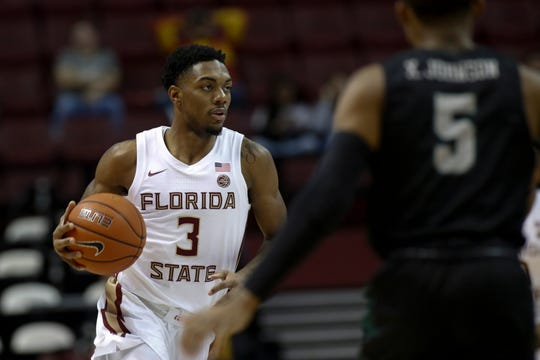Florida State Seminoles guard Trent Forrest (3) brings the ball up the court during a game between FSU and Chicago State at the Donald L. Tucker Civic Center Monday, Nov. 25, 2019.