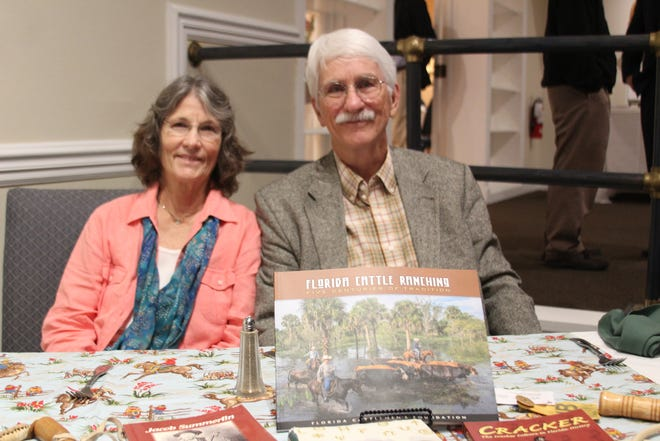 Author and folklorist Bob Stone, right, and his wife, Judy, at the Friends of the St. Lucie County Library Association's Dinner at the Pelican Yacht Club on Nov. 9, 2019.