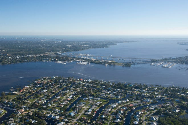 Aerial view of Palm City, the St. Lucie River and the Roosevelt Bridge on Feb. 11, 2016.