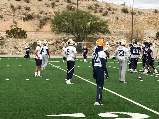 UTEP's defense gets ready for a play Tuesday at Glory Field