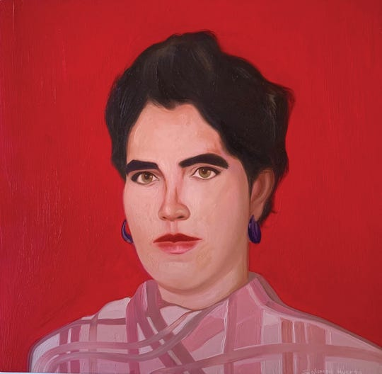 """Carmen Huerta"" an oil painting by artist Salomón Huerta is part of an exhibit ""Humanizing the Other"" at the Kwan Fong Gallery of Art and Culture at California Lutheran University."