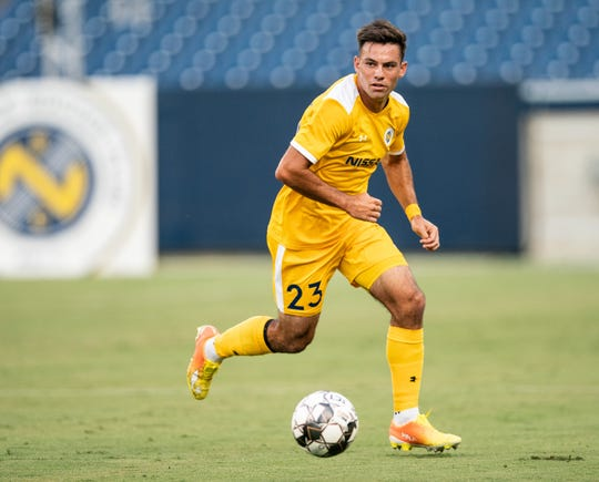 Somers native Taylor Washington controls ball for Nashville FC USL club. Washington was one of four players from that team retained in Nov. 2019 as the club became a Major League Soccer team.