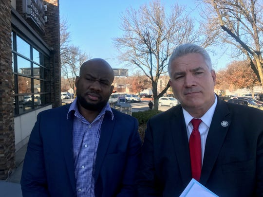 Mount Vernon police Officer Murashea Bovell, left, and his lawyer, Joseph Murray on Nov. 26, 2019. Bovell is suing Mount Vernon over what he contends is a yearslong pattern of retaliation for his complaints about racism and corruption in the department.