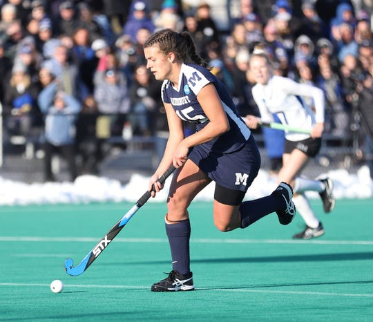 Erin Nicholas carries the ball on the attack for Middlebury College in the 2019 D-III national field hockey championship game. Middlebury edged Franklin & Marshall 1-0 to win its third straight national title.