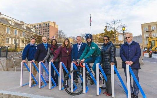 Eel-inspired bike racks that were installed around Yonkers.