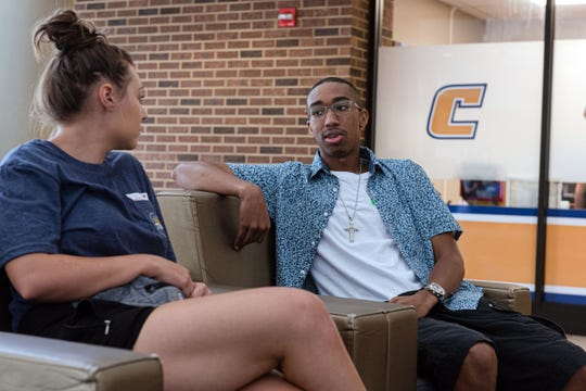 """Chris Bogans with his student mentor, Hayleigh Weissenbach. """"Chris is really brilliant,"""" she said. """"He's funny and very sociable if you get him out of his shell."""""""