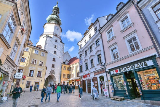 St. Michael's Gate is the last surviving tower of Bratislava's medieval city wall.