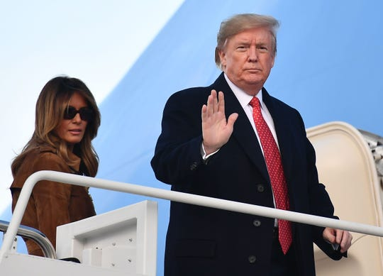 President Donald Trump and first lady Melania Trump depart for Florida on Nov. 26, 2019.