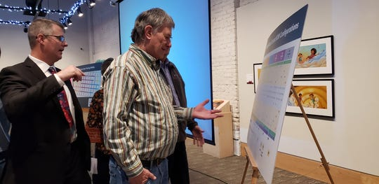 Glenn Dromgoole gestures at a list of parking space options presented at a meeting devoted to downtown parking Tuesday at the National Center for Children's Illustrated Literature.