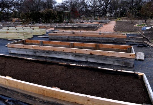 Raised beds under construction at the Brownwood Area Community Garden.
