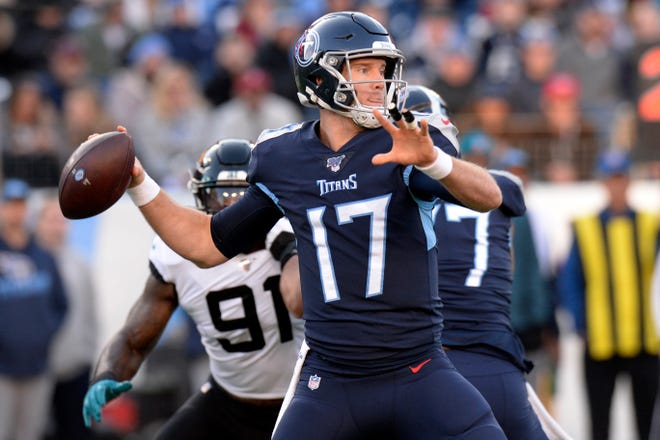 Tennessee Titans quarterback Ryan Tannehill (17) passes against the Jacksonville Jaguars in the first half Sunday, Nov. 24, 2019, in Nashville, Tenn.