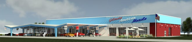 An artist rendering of the Gilmore American Muscle Car Museum expected to be at the Gilmore Car Museum by 2021.