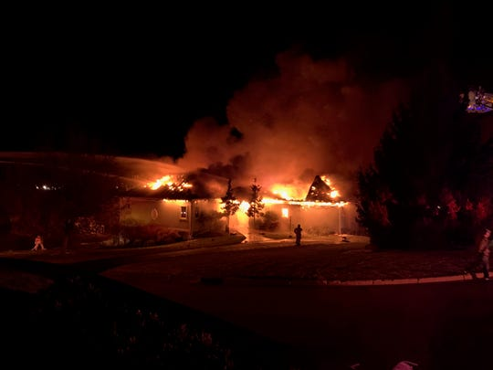 A fire destroyed a home at 101 Mark Court in Vestal on Tuesday, Nov. 26, 2019. The fire broke out sometime before 6 p.m. off Knapp Road, on the hill south of Parkway Plaza.