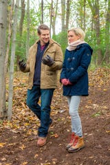 """The Hallmark Movies & Mysteries film """"Romance at Reindeer Lodge"""" features Nicky Whelan as a woman who wins a trip to Jamaica, Vermont, for Christmas and meets a handsome stranger played by Josh Kelly."""