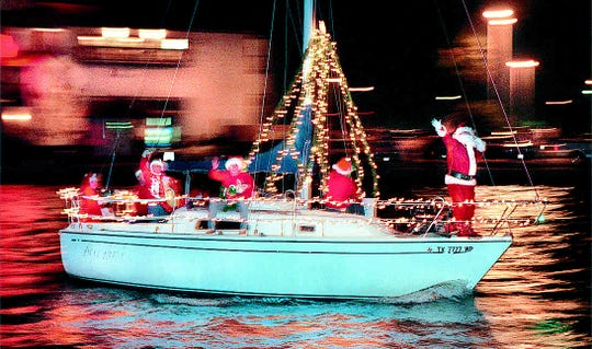 On Saturday, Santa will trade in his traditional sleigh for a boat in the lighted boat parade on Saturday.
