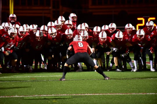 The La Salle Lancers get ready to take the field at the OHSAA Division II Region Championship, November 22, 2019.
