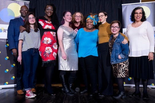 Enquirer columnist and storytelling coach Byron McCauley, storytellers Eden Crawford, Ebony Pickens, Laura Davis, Polly Campbell, Mona Bronson-Fuqua, Katie Vogel and hosts Sallee Ann Harrison and Anne Saker brought a night of stories from many different backgrounds to Cincy Storytellers: Food and Family, Tuesday, Nov. 26, 2019.