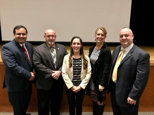 (Left to right) Juan Torres, Robert Sensi, Lisa Hamp, Kari McGann, Frank Crisogolo (Chief of Detectives, Hunterdon Prosecutor's Office)