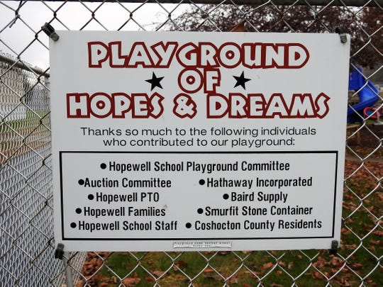 Playground of Hopes and Dreams was established about 15 years ago at Hopewell School and is open to the public.