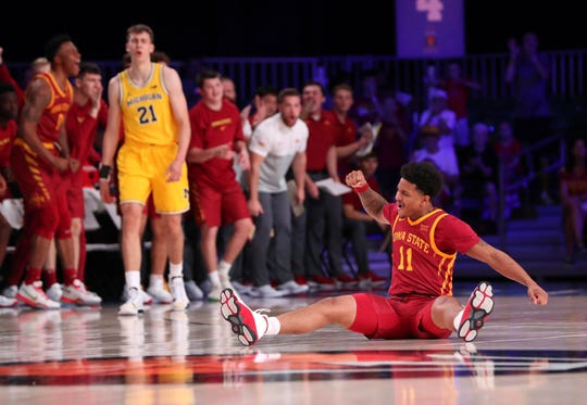 Nov 27, 2019; Nassau, BHS; Iowa State Cyclones guard Prentiss Nixon (11) reacts during the first half against the Michigan Wolverines  at Imperial Arena. Mandatory Credit: Kevin Jairaj-USA TODAY Sports
