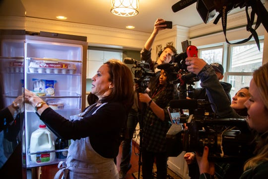 U.S. Sen. Kamala Harris of California is one of two Democratic presidential candidates, along with U.S. Sen. Amy Klobuchar of Minnesota, who spent Thanksgiving in Des Moines as they focus their campaigns on Iowa ahead of its Feb. 3 caucuses.
