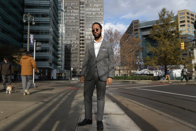 Eric S. Thomas is a senior partner at Saga MKTG and is a guest columnist  for the Detroit Free Press writing about the way downtown/midtown have changed and the erosion of black spaces in Detroit and what that's like for a native Detroiter. Thomas is photographed in downtown Detroit on Wednesday, Nov. 27, 2019.