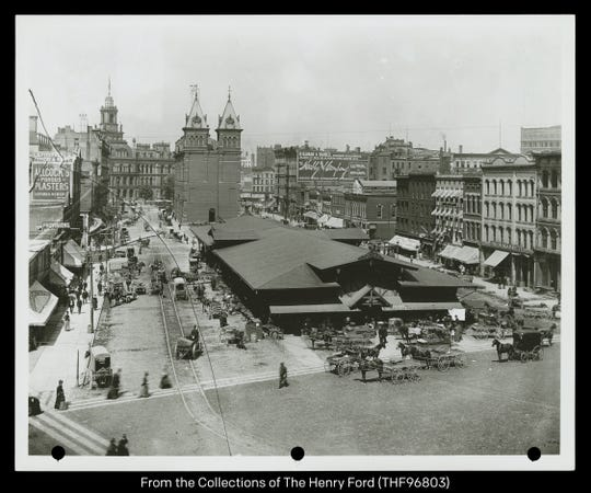 Detroit Central Farmers Market was located downtownin the late 1800s.