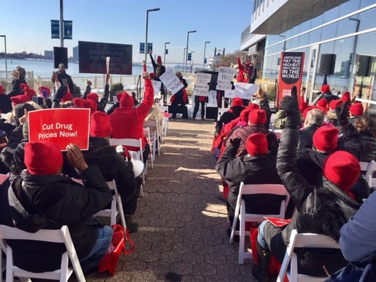It was a fiesty crowd at a Nov. 18 AARP rally in downtown Detroit for cheaper prescription drugs.
