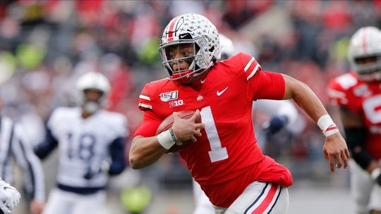 Ohio State quarterback Justin Fields  ranks third in the nation in points responsible for with 258, fourth in passing efficiency at 190.3and tied for third with 33 touchdowns passes